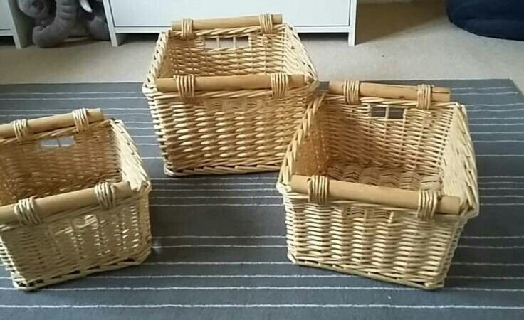 Set Of 3 Wicker Baskets With Wooden Handles In Kirkcaldy Fife