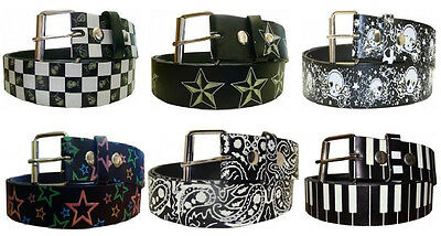 Glow In The Dark Printed Leather Belt w/ Removable Buckle - Stars Skulls Paisley (Skull Belt)