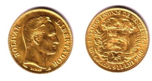 A VENEZUELA 1911 GEM BU 20 GOLD BOLIVARES  [Simon Bolivar-Coat of Arms .1867 agw