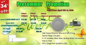 'PreSummer Promo' 34% OFF- 4'' LED Slim Panel / Recessed Potlight 9W = 60W, ETL - IC Rated - 10 Yrs Warranty - 9.99 $