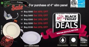 Black Friday Promo 40% Discount  4'' LED Slim Panel / Pot 9W = 60W, 750 Lm, cETL - Dimmable IC Rated - 10 Years Warranty