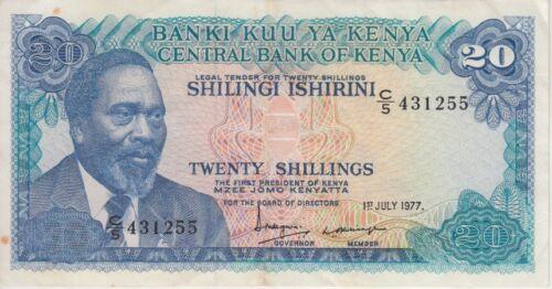 KENYA BANKNOTE P13d-3118  20 SHILLINGS  1977, VF+