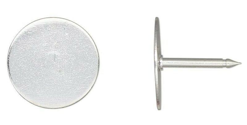 10 OR 100 Silver Plated Brass 12mm Round Pad Tie Tacs Make Anything a Tie Tack