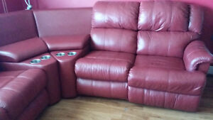 REDUCED!!! Red Leather Sectional Entertainment Chesterfield Unit St. John's Newfoundland image 1