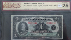 Canadian 1935  1 Dollar Bank Note