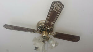 Gold and Wooden Ceiling Fan in Excellent Condition!
