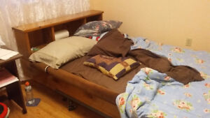 foam mattress and pine bedframe with steel frame