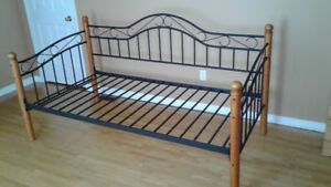 Metal and Wood Twin Day Bed