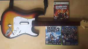 Xbox 360 - Rock Band 2, 3, Green Day and Wireless Guitar