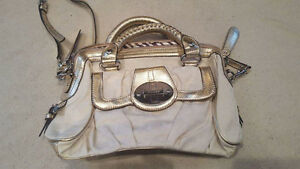Gold and white purse
