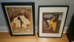 Vintage French and Italian framed prints