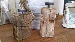 Two driftwood candle holders
