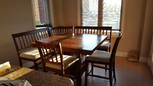 Kitchen table set with 2 chairs 2 benches and corner chair