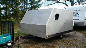 8.5x10 enclosed double wide trailer and two sleds pkg deal!