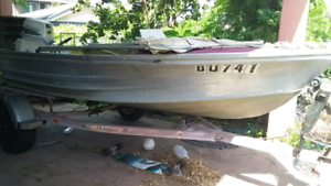 13 ft quintrex tinny with trailer and outboard