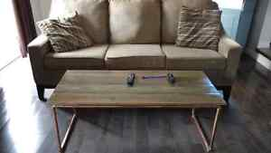 Copper frame coffee table