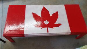 Canadian / Weed Flag table with distressed look.  Home made.