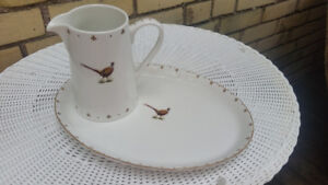 Spode ceramic Pheasant Serving platter and Jug
