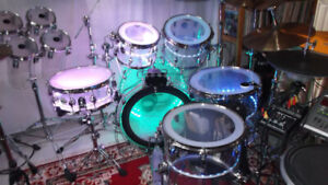 Deluxe 7 piece clear Acrylic Drum kit shellpack