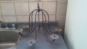 Vintage 6 Arm Wire Candle Chandelier