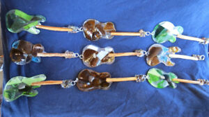 Beach glass/Stained glass guitar suncatchers by Deb Humen