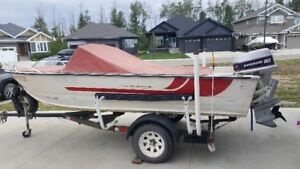 16 Ft Aluminum Boat with 90 Hp  Evinrude and Trailer