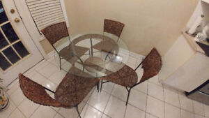 Premium Wooden Glass Coffee Table and Chairs