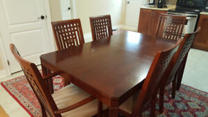 Mission Style Wooden Dining Table (with leaf) + 6 Chairs
