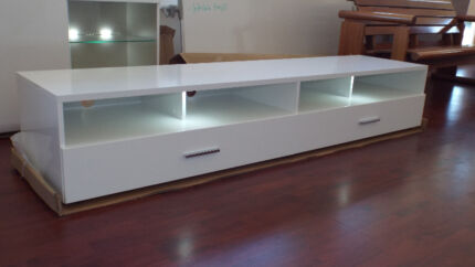 TV Unit,  two drawers, white gloss... A1