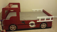 Firetruck bed with trundle and matching bedroom furniture