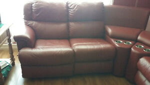 REDUCED!!! Red Leather Sectional Entertainment Chesterfield Unit St. John's Newfoundland image 4