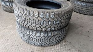 Pair of 2 Goodyear Nordic 215/60R16 WINTER tires (95% tread life