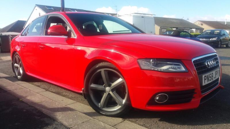 2008 58 AUDI A4 2.0TDI S-LINE.STUNNING BRIGHT RED WITH FULL S/H.DRIVES SUPERBLY.