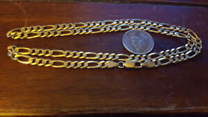 """Nice Solid 14k Gold Figero Link Chain 23"""" Long 24.6 Grams"""