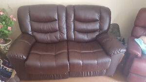 Leather recline love seat