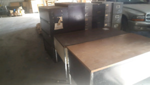 Desks and filing cabinets