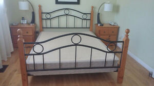 Bed frame with box spring and night tables