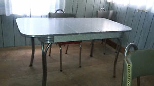 Sold - PPU  - Formica and Chrome Table, Chairs and Shelf