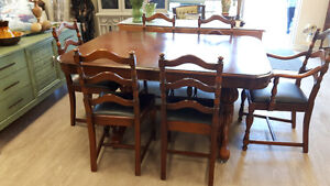 Antique Walnut Table and Chairs