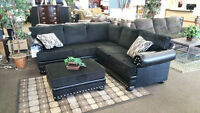 Black Leather/Fabric Sectional