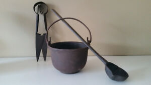 Antique crucible, ladle and sheep shears