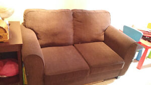 Brown Love Seat/Sofa bed (single)