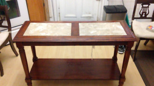 Multi-Purpose Marble and Wood Table- Good Condition