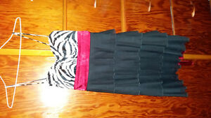 Teens trendy striped bodice, layered dress
