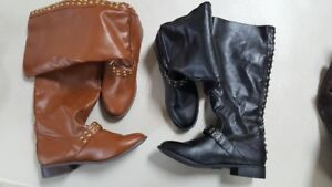 Black and Brown Ladies Boots (Size 9),