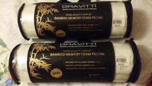 2 Gravitti Bamboo Memory Foam Pillow ( Queen ) Brand New