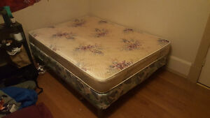 Double mattress with box spring and bed frame