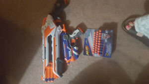 nerf gun and bullets.