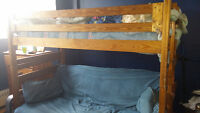Pine bunk bed and desk