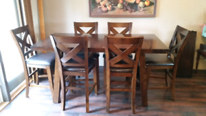 High Dining Table Set with 2 Leafs and 6 Chairs